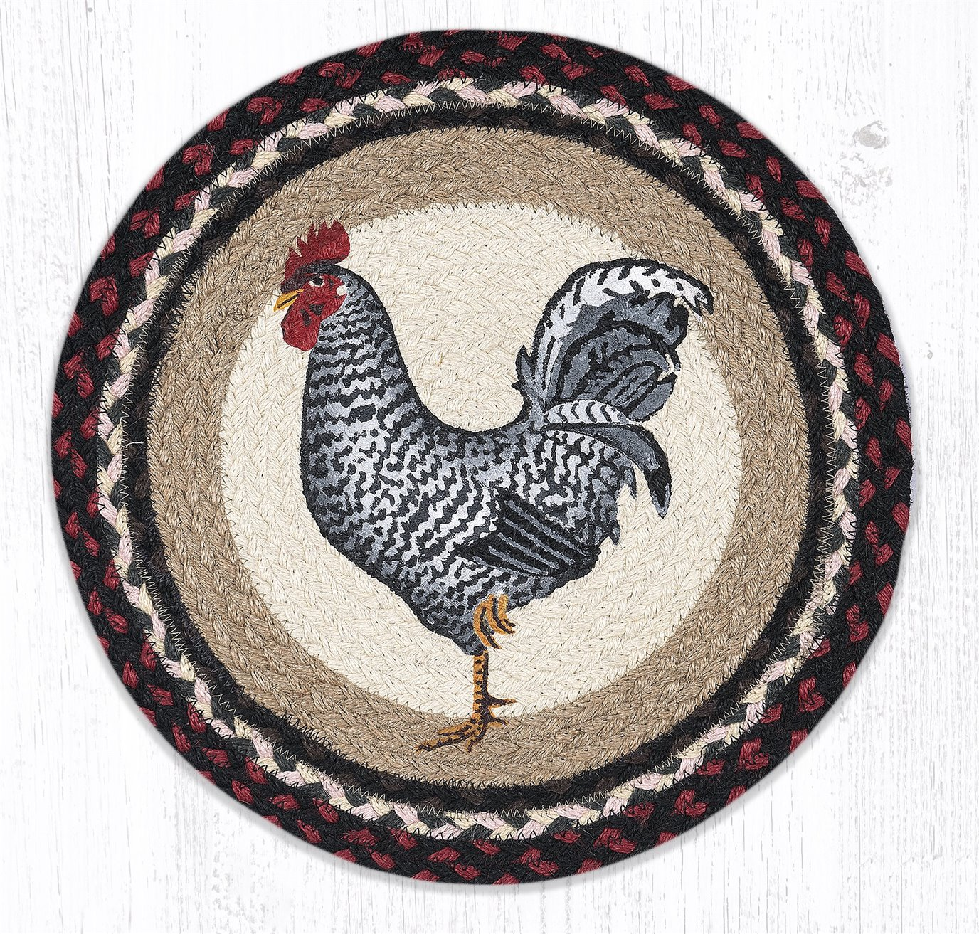 "Black & White Rooster Round Braided Chair Pad 15.5""x15.5"""