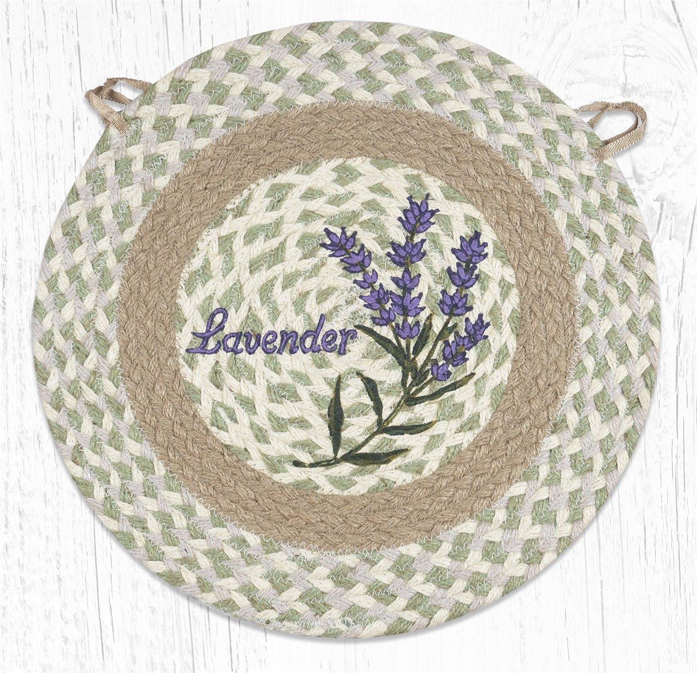 "Lavender Round Braided Chair Pad 15.5""x15.5"""