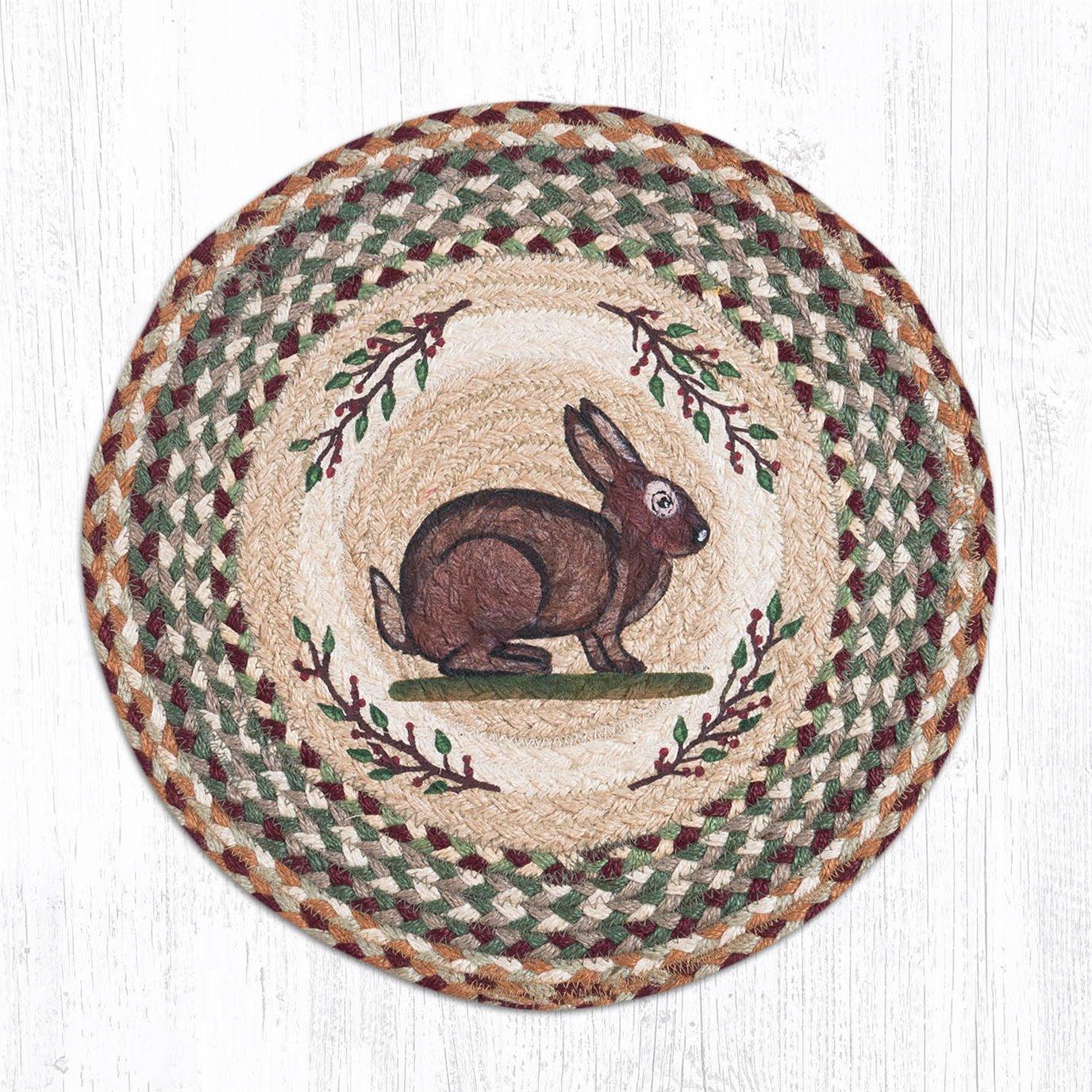 """Vintage Rabbit Round Braided Chair Pad 15.5""""x15.5"""""""