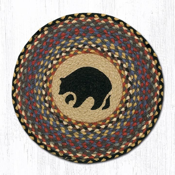 """Black Bear Round Braided Chair Pad 15.5""""x15.5"""""""
