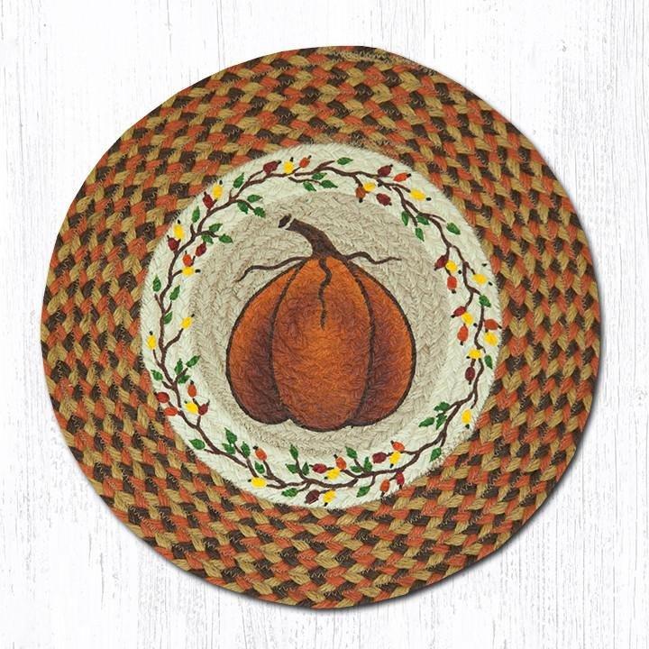 """Harvest Pumpkin Round Braided Chair Pad 15.5""""x15.5"""""""