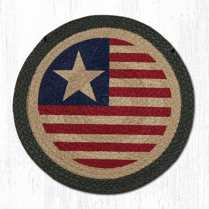 "Original Flag Round Braided Chair Pad 15.5""x15.5"""