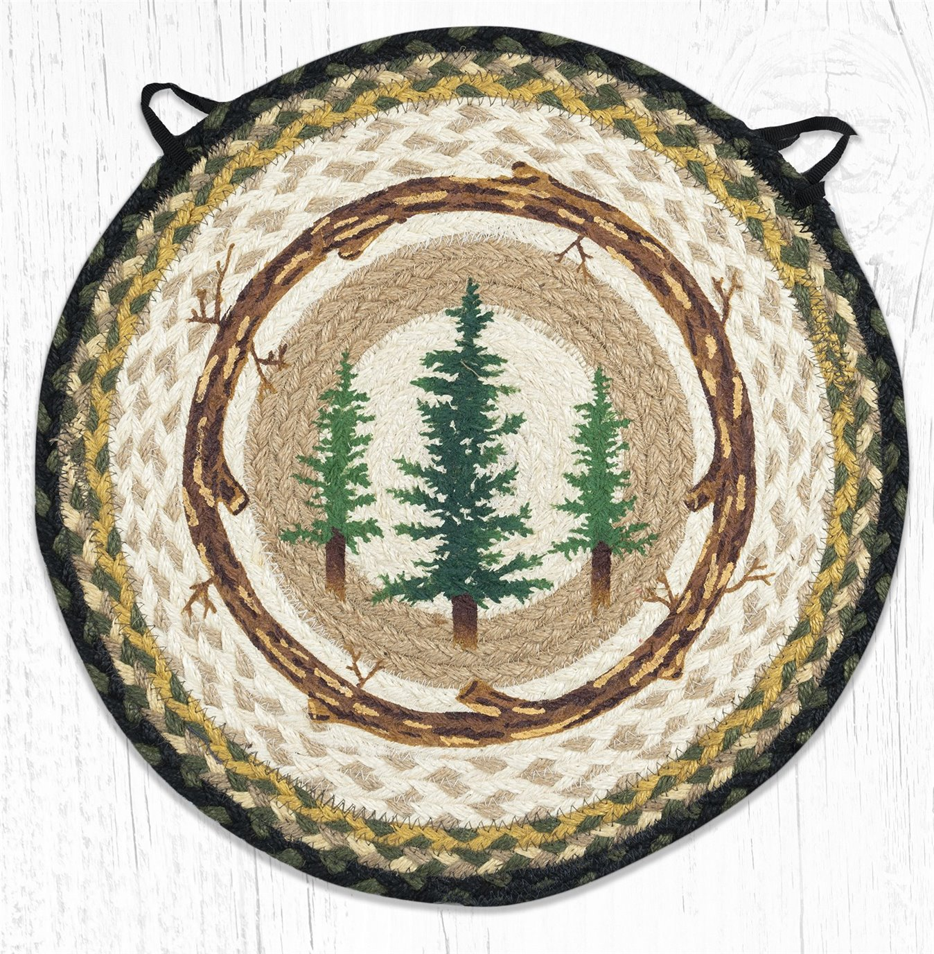 """Tall Timbers Round Braided Chair Pad 15.5""""x15.5"""""""