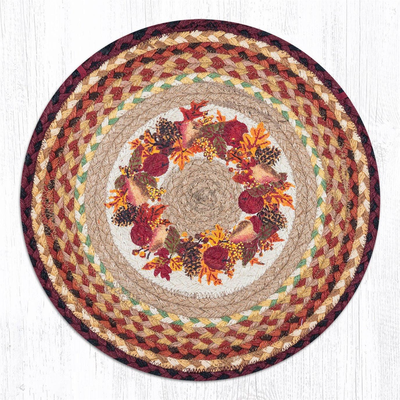 """Autumn Wreath Round Braided Chair Pad 15.5""""x15.5"""""""