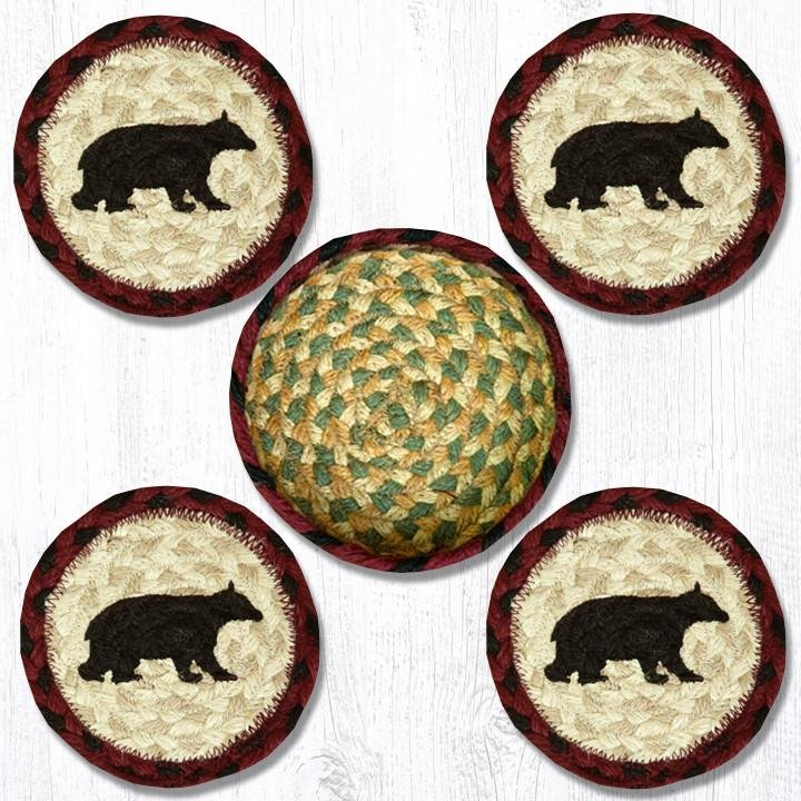 """Cabin Bear Braided Coasters in a Basket 5""""x5"""" (Set of 4)"""