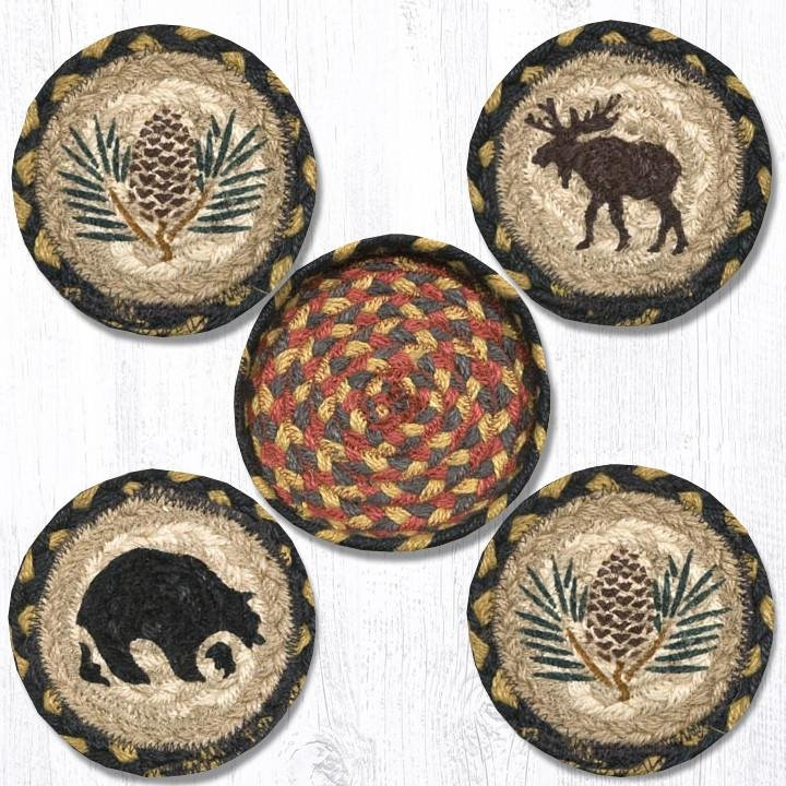 """Wilderness Braided Coasters in a Basket 5""""x5"""" Set of 4"""