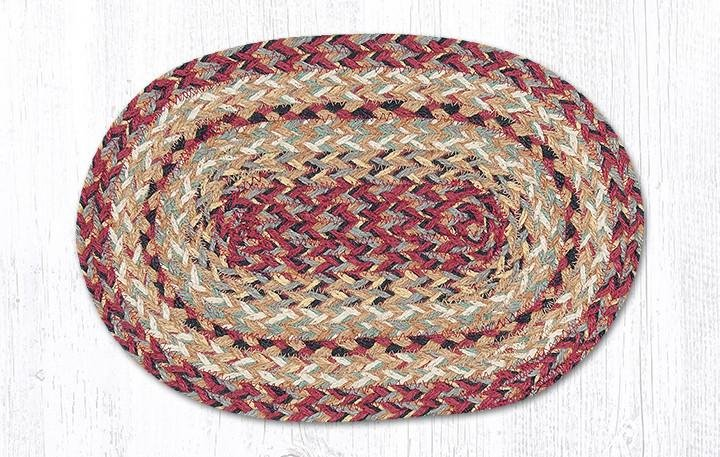 "Burgundy Oval Braided Swatch 10""x15"""