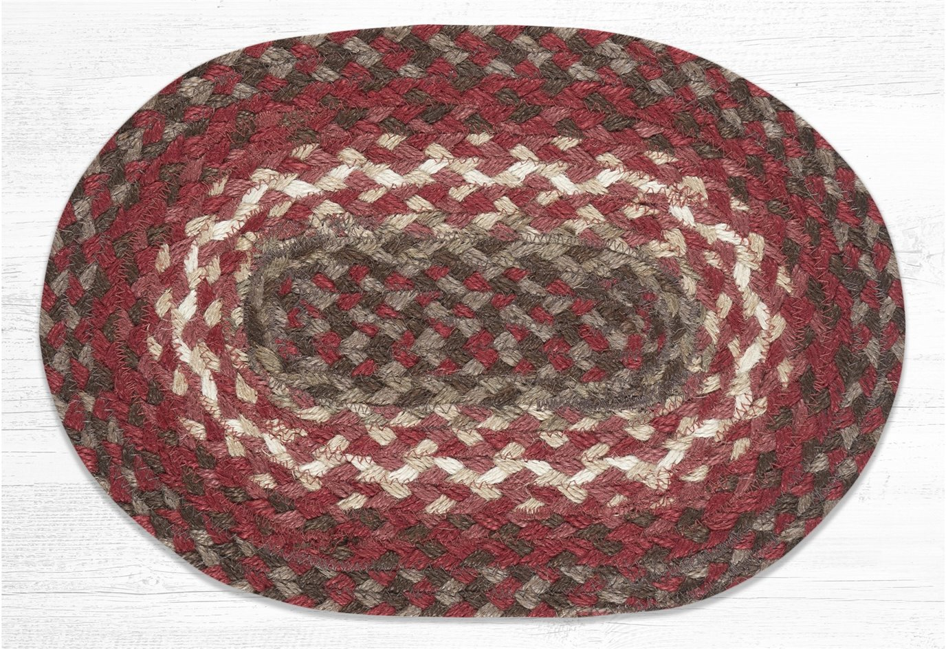"""Taupe/Chestnut/Chili Pepper Oval Braided Swatch 10""""x15"""""""