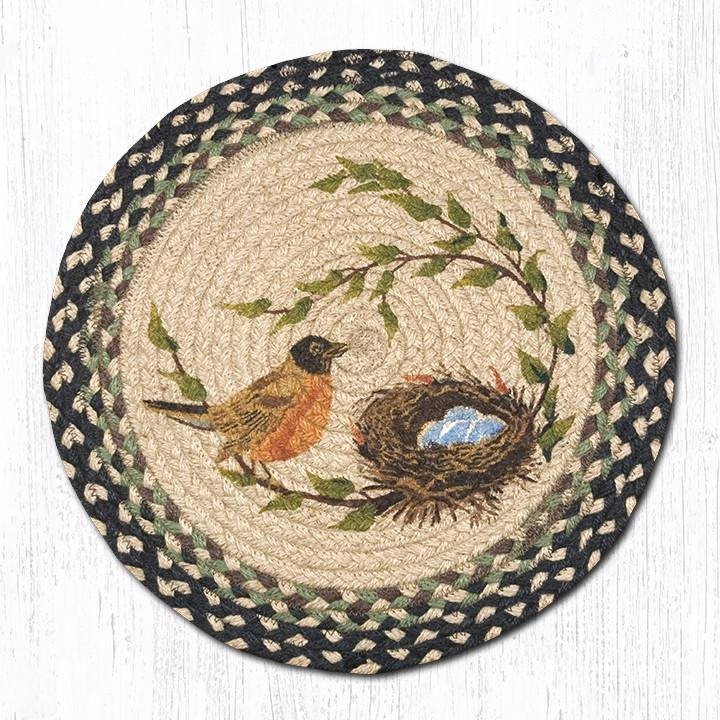 "Robins Nest Round Braided Chair Pad 15.5""x15.5"""