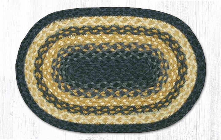 "Lt. Blue/Dk. Blue/Mustard Oval Braided Swatch 10""x15"""