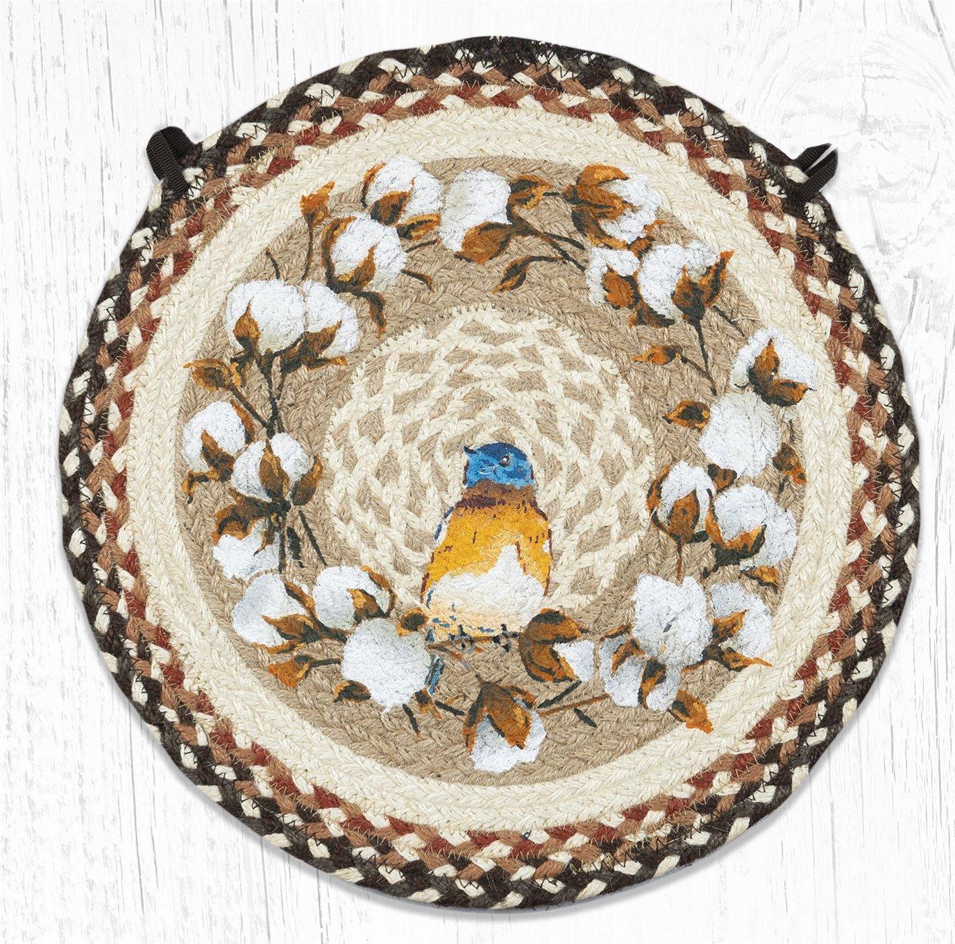 "Cotton Wreath Round Braided Chair Pad 15.5""x15.5"""