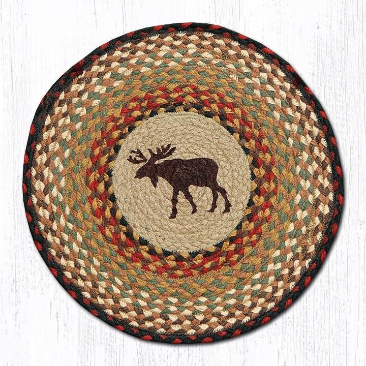 "Moose Round Braided Chair Pad 15.5""x15.5"""