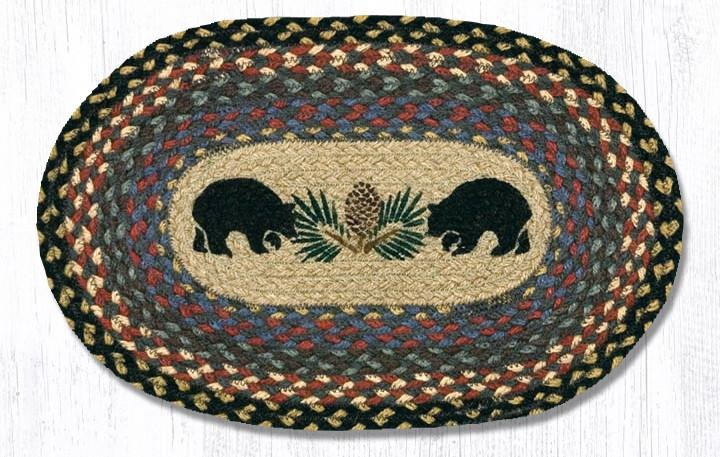 "Black Bears Printed Oval Braided Swatch 10""x15"""