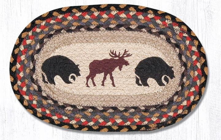 "Bear/Moose Printed Oval Braided Swatch 10""x15"""