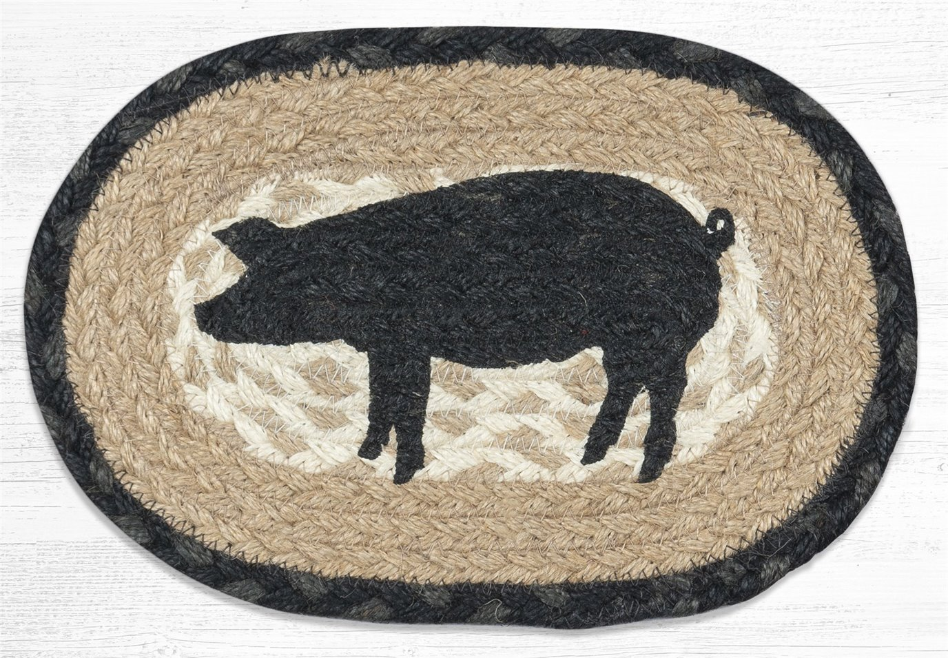 """Pig Silhouette Printed Oval Braided Swatch 7.5""""x11"""""""