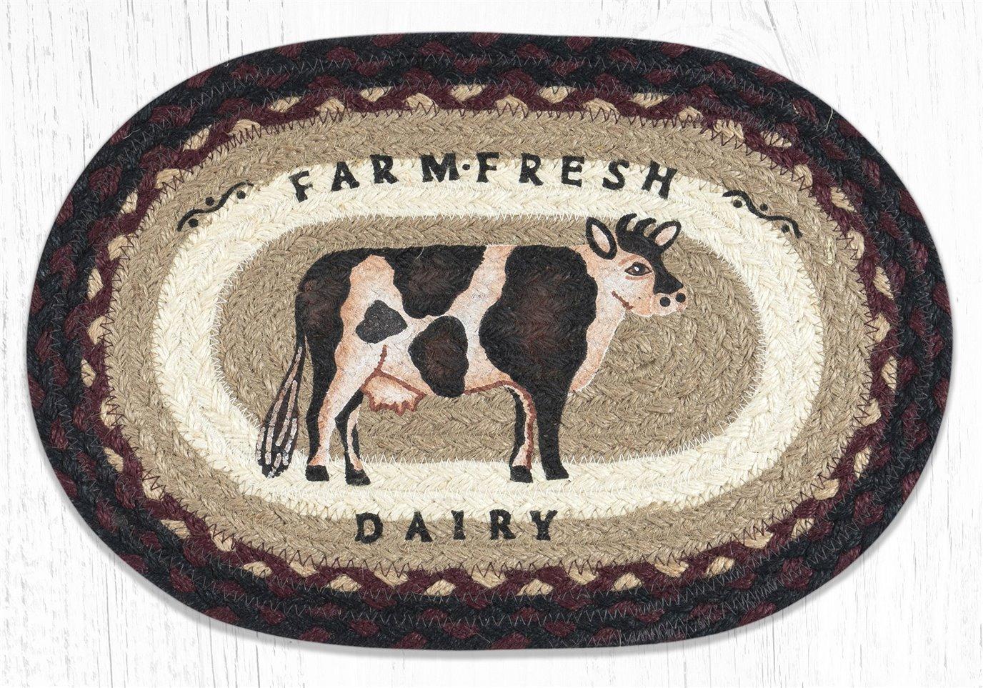 "Farmhouse Cow Printed Oval Braided Swatch 10""x15"""