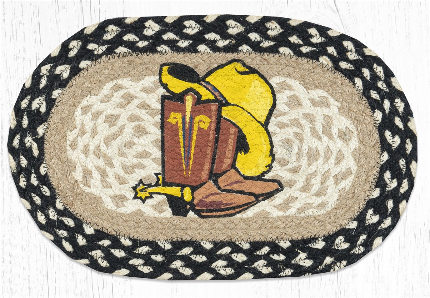 """Cowboy Spurs Printed Oval Braided Swatch 10""""x15"""""""
