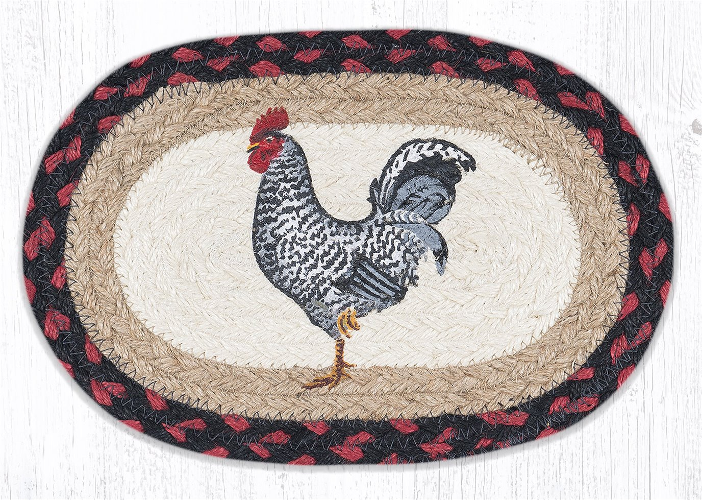 """Black & White Rooster Printed Oval Braided Swatch 7.5""""x11"""""""