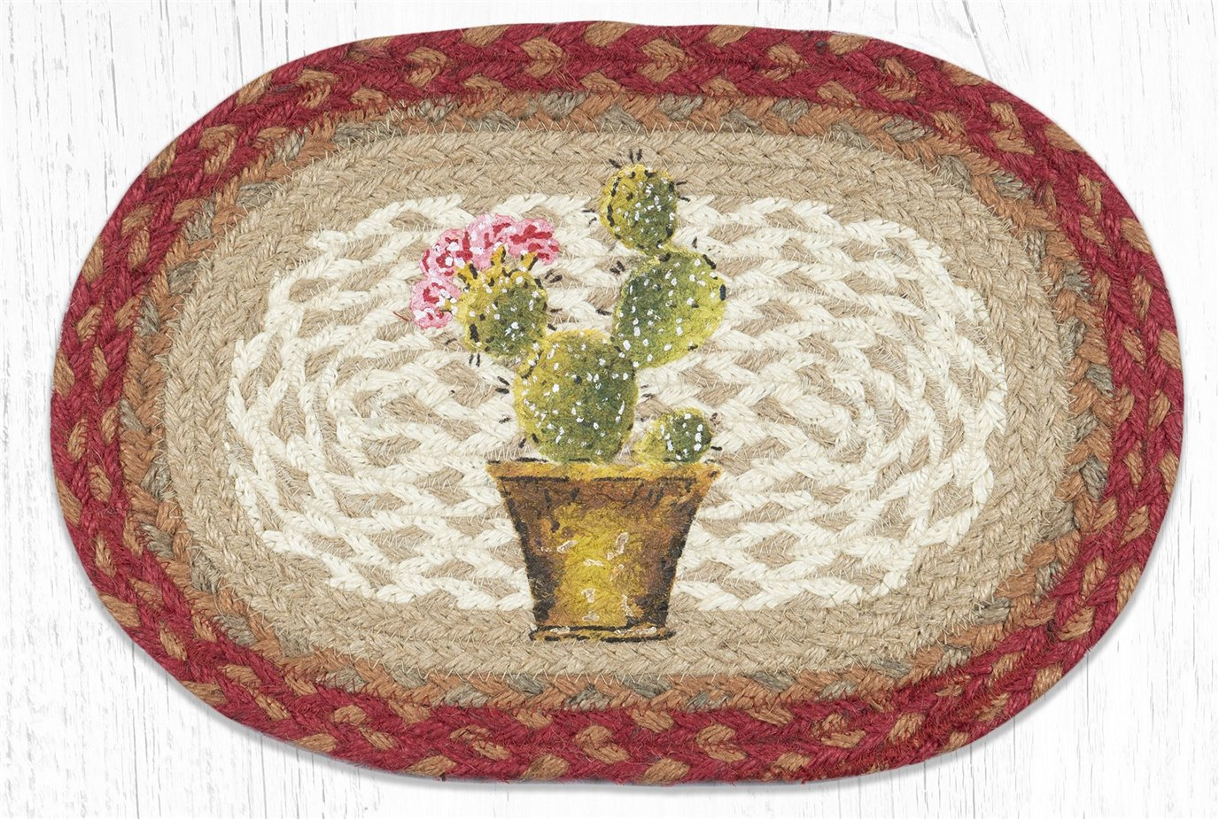 "Cactus Printed Oval Braided Swatch 10""x15"""