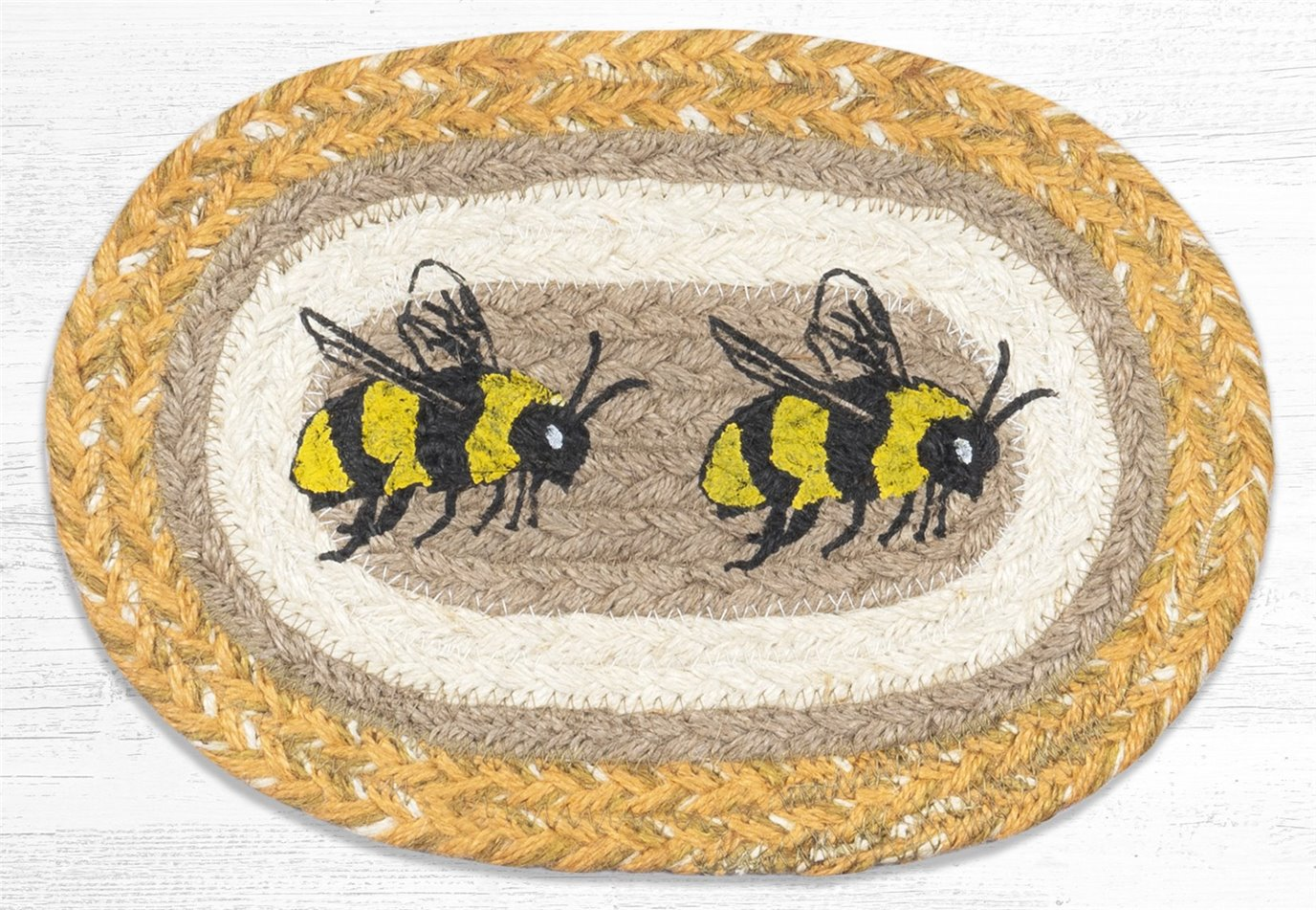 "Bee Printed Oval Braided Swatch 7.5""x11"""