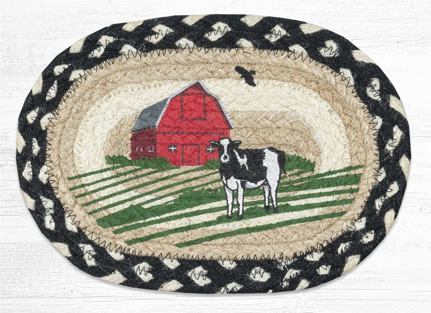 "Red Barn Printed Oval Braided Swatch 7.5""x11"""
