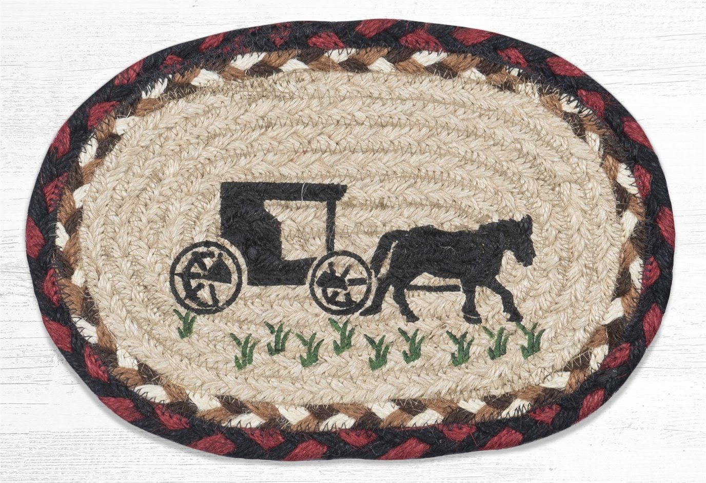 """Amish Buggy Printed Oval Braided Swatch 7.5""""x11"""""""