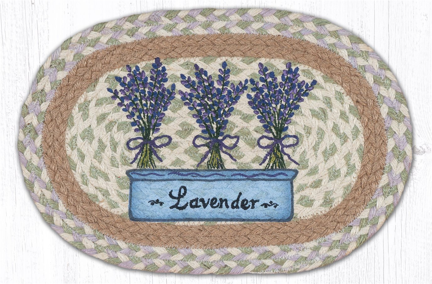 """Lavender Printed Oval Braided Swatch 10""""x15"""""""