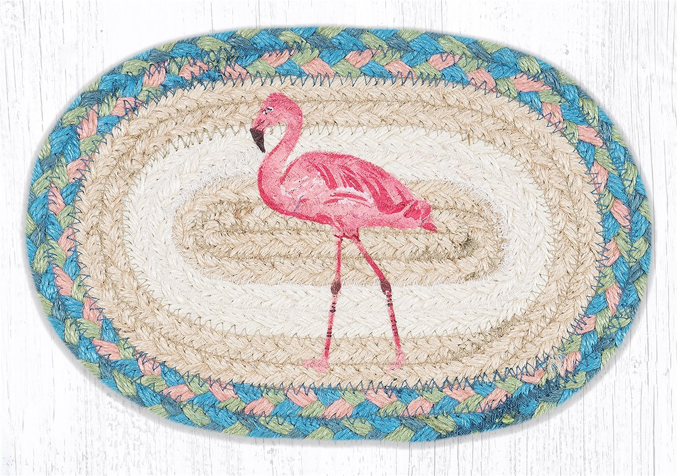 """Pink Flamingo Printed Oval Braided Swatch 7.5""""x11"""""""