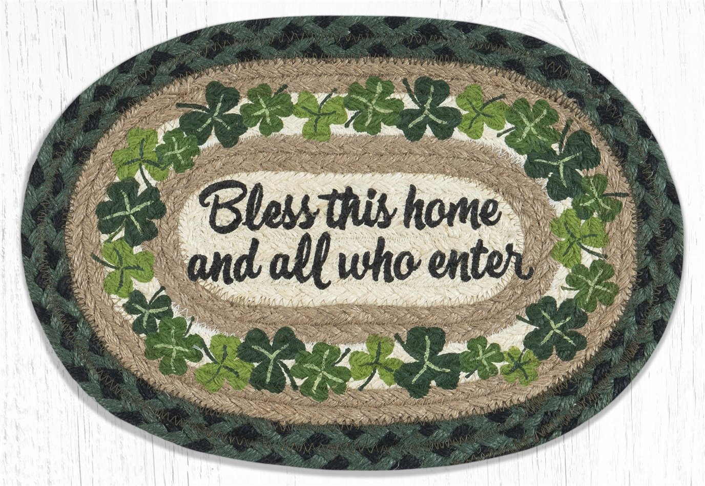 """Bless this Home Printed Oval Braided Swatch 10""""x15"""""""