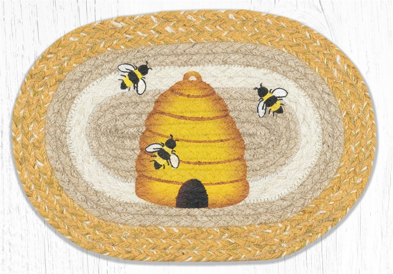 """Beehive Printed Oval Braided Swatch 10""""x15"""""""