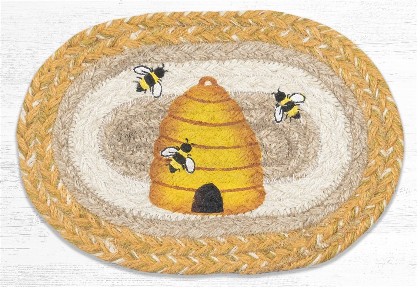 """Beehive Printed Oval Braided Swatch 7.5""""x11"""""""