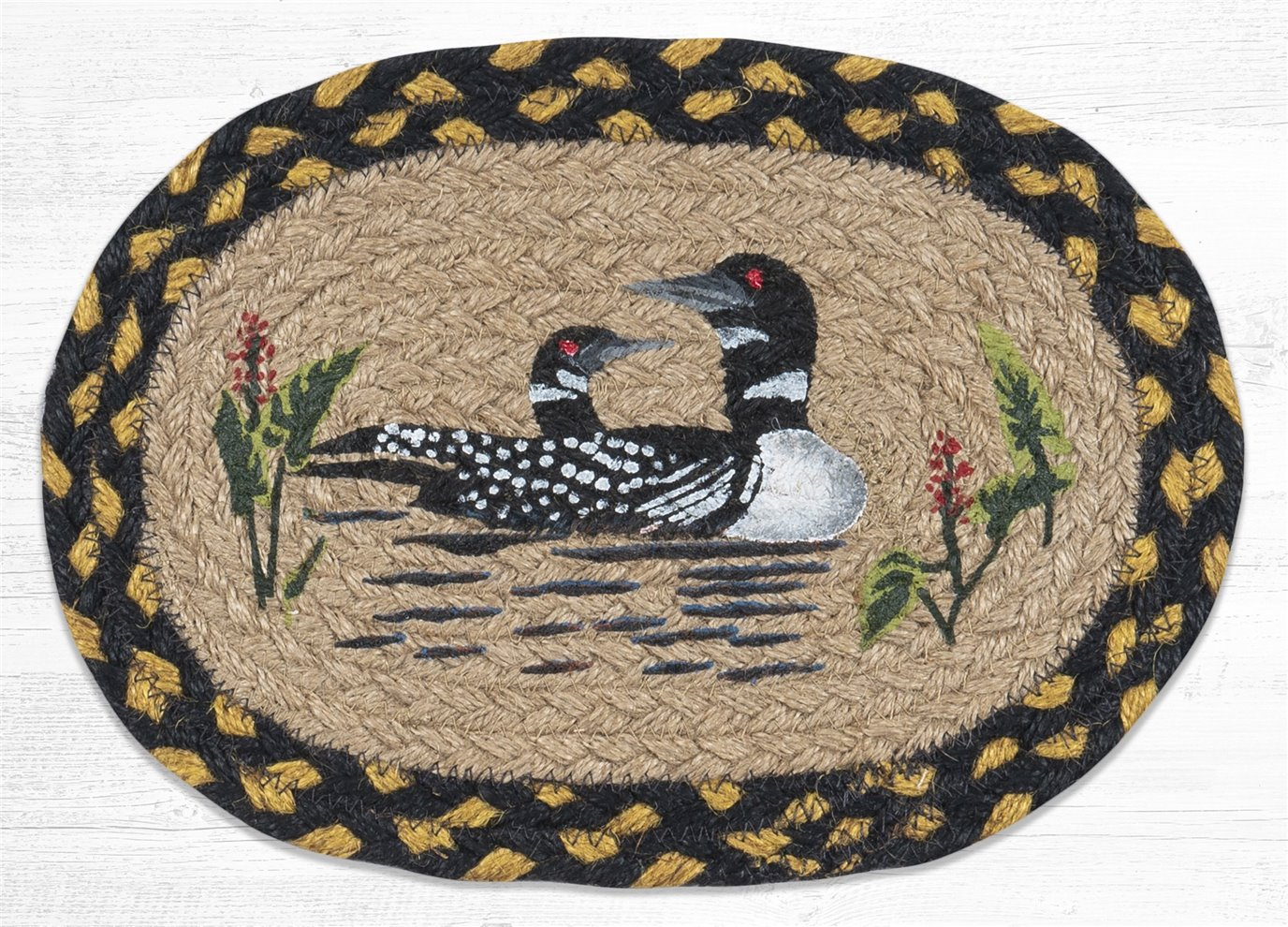 """Loon Printed Oval Braided Swatch 7.5""""x11"""""""