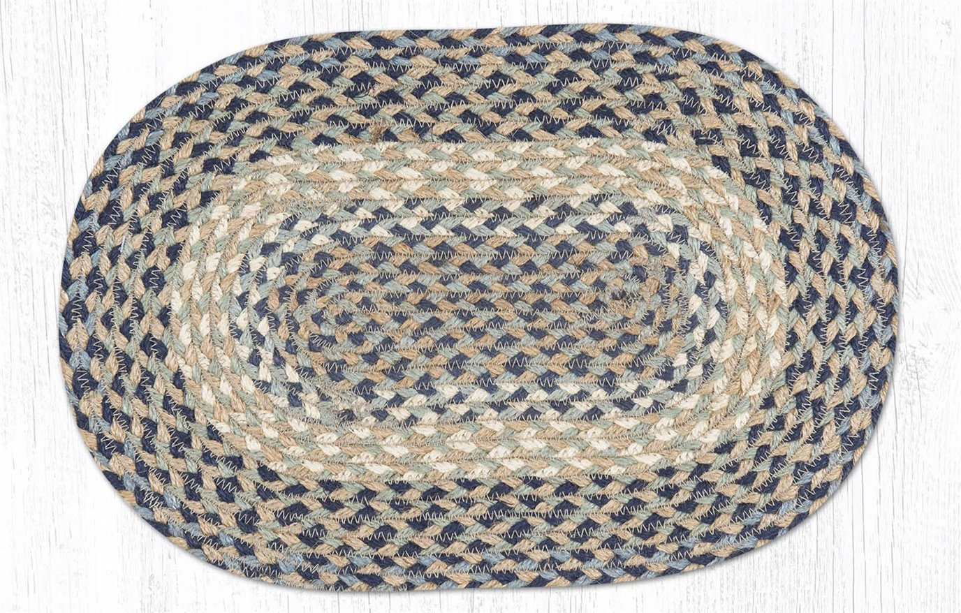 """Blue/Natural Oval Braided Swatch 10""""x15"""""""