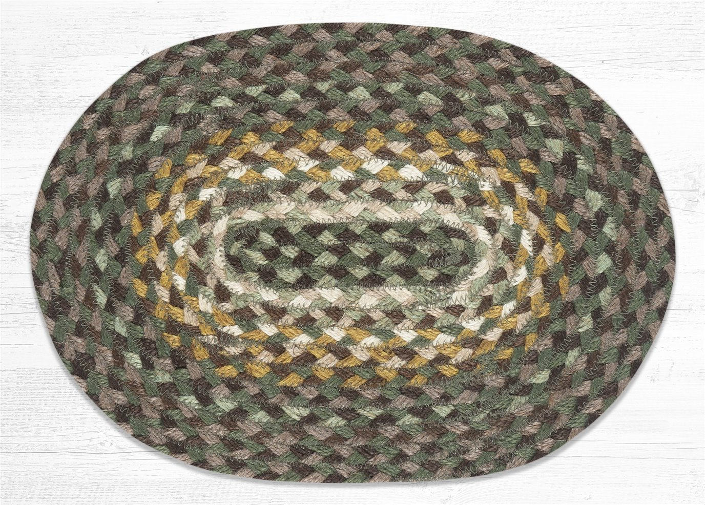 "Chestnut/Golden Rod/Cactus Oval Braided Swatch 10""x15"""