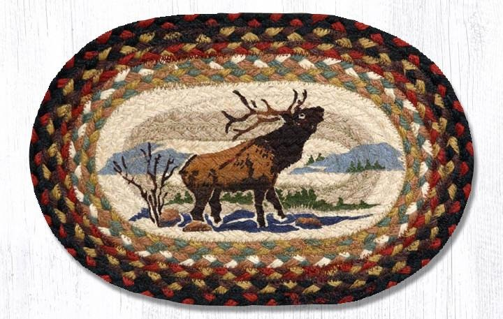 "Winter Elk Printed Oval Braided Swatch 10""x15"""