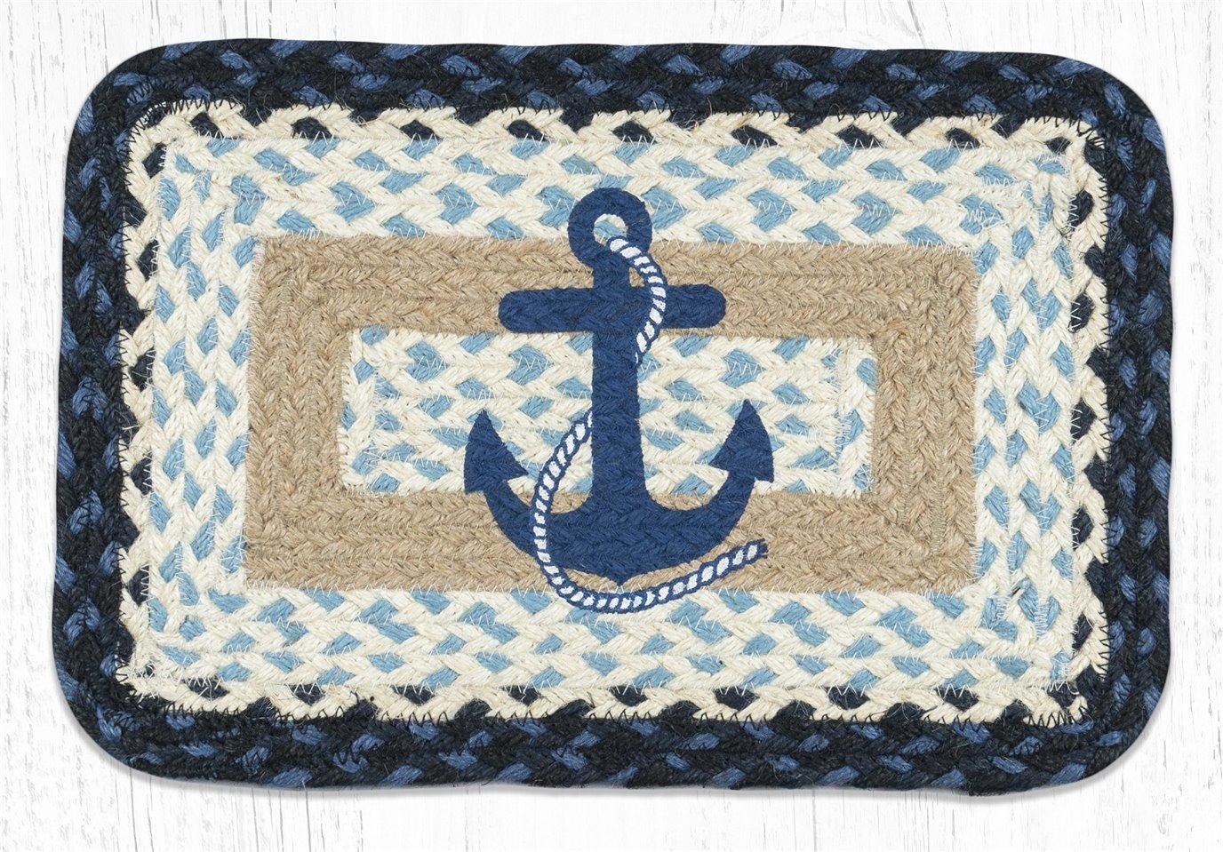 "Navy Anchor Rectangular Printed Braided Swatch 10""x15"""