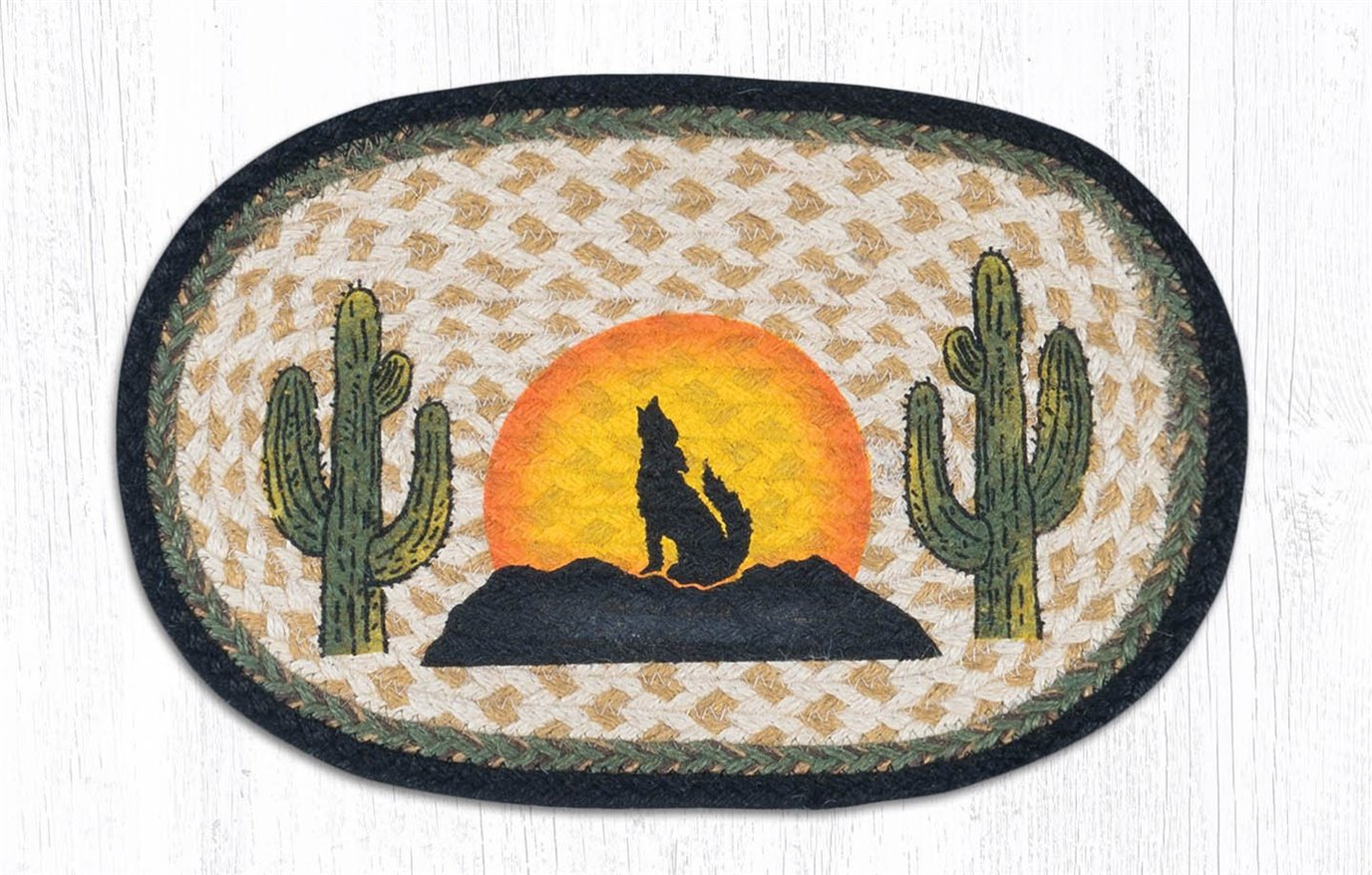 """Coyote Silhouette Printed Oval Braided Swatch 10""""x15"""""""