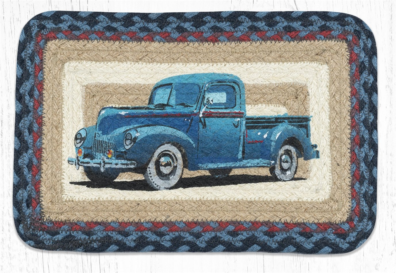 "Blue Truck Rectangular Printed Braided Swatch 10""x15"""