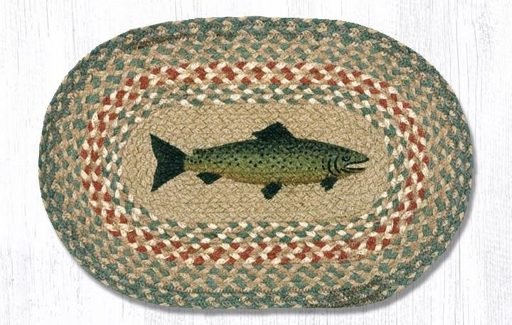 """Fish Printed Oval Braided Swatch 10""""x15"""""""