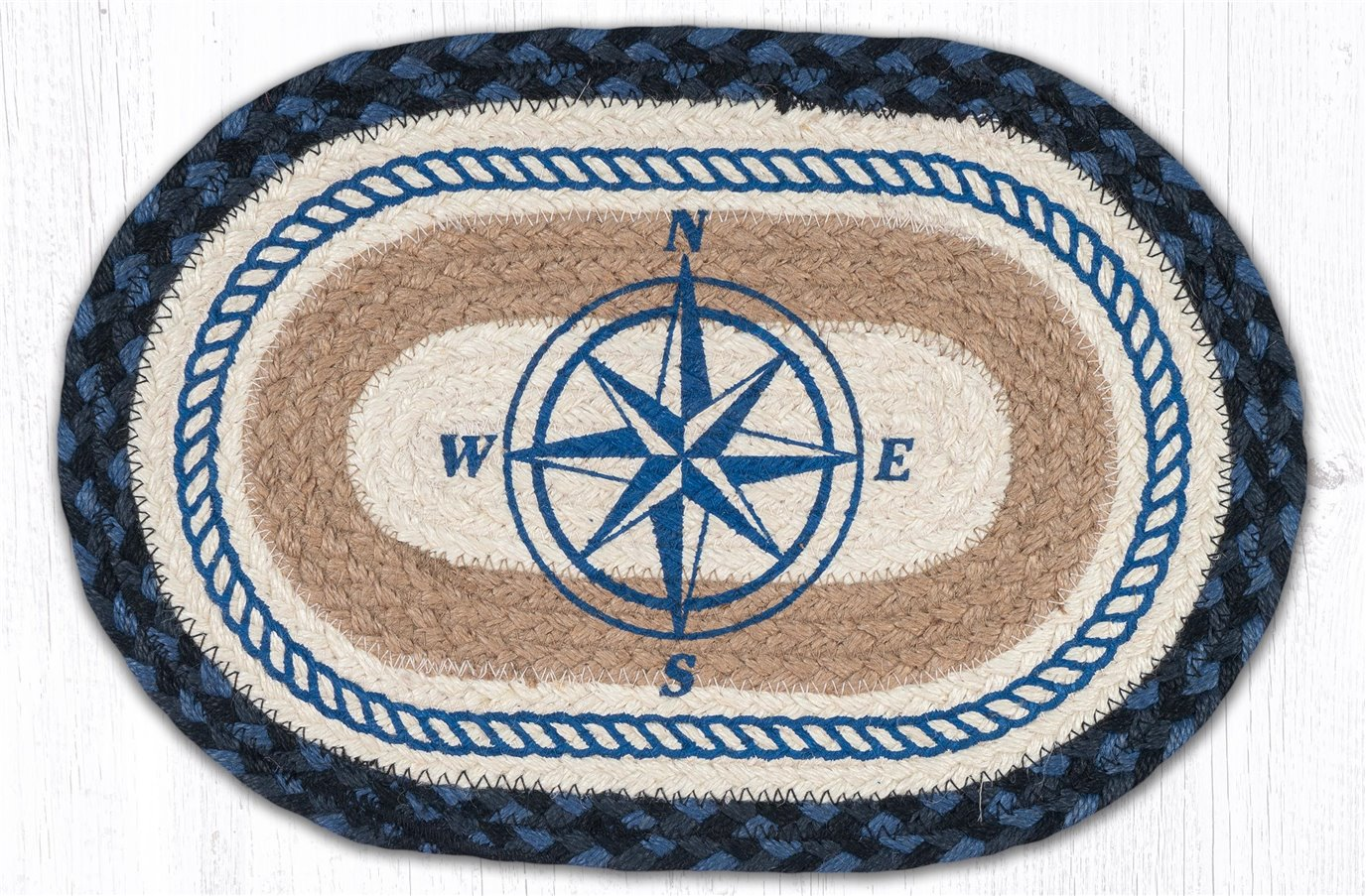 """Compass Rose Printed Oval Braided Swatch 10""""x15"""""""