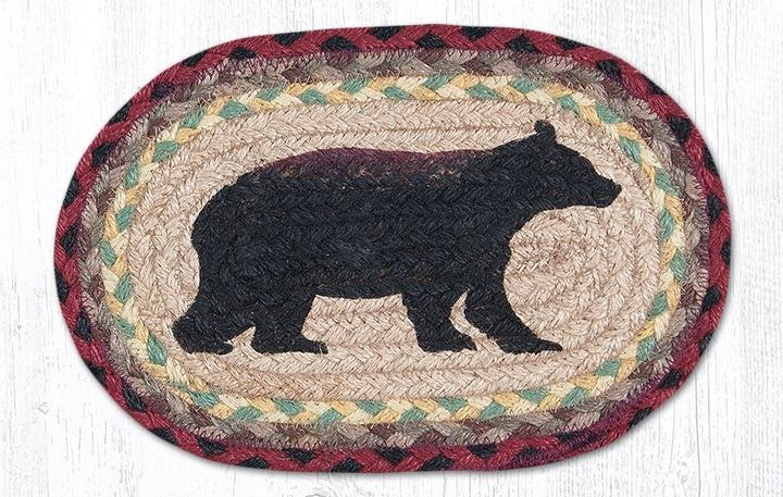 "Cabin Bear Printed Oval Braided Swatch 7.5""x11"""