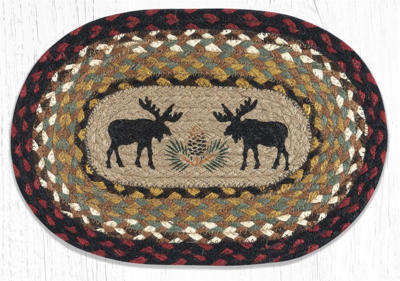"Black Moose Printed Oval Braided Swatch 7.5""x11"""