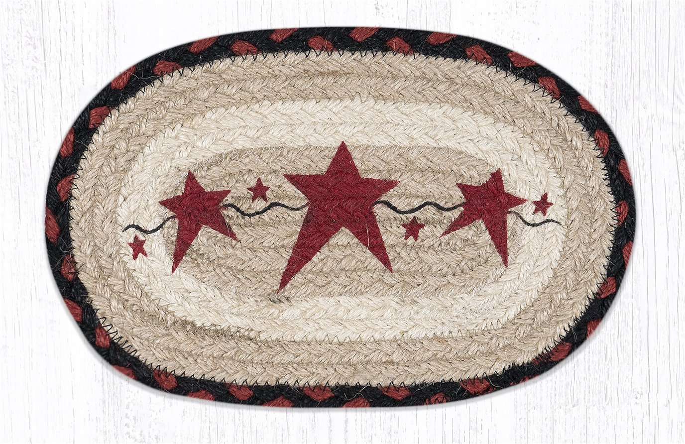 "Primitive Stars Burgundy Printed Oval Braided Swatch 7.5""x11"""