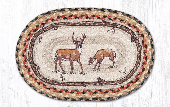 "Deer Printed Oval Braided Swatch 10""x15"""