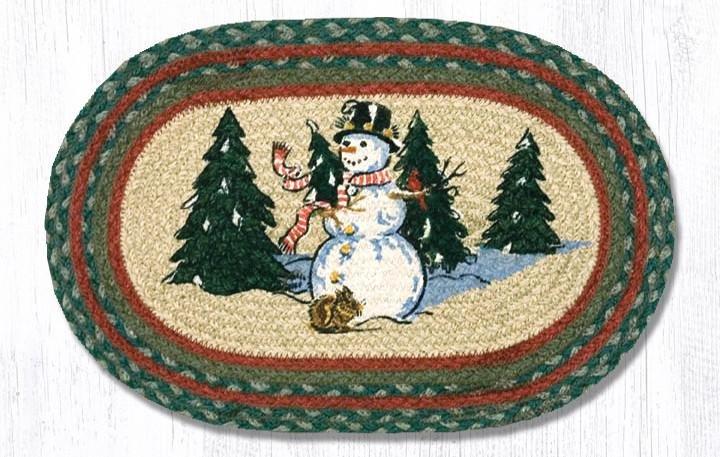 "Winter Wonderland Printed Oval Braided Swatch 10""x15"""