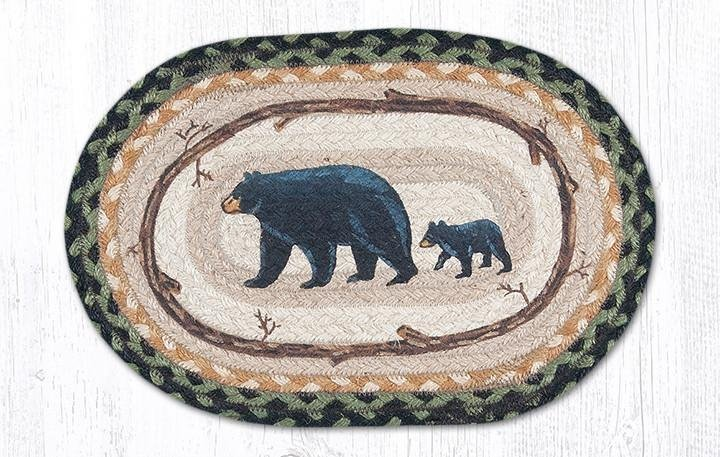 "Mama & Baby Bear Printed Oval Braided Swatch 10""x15"""