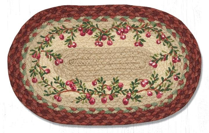 """Cranberries Printed Oval Braided Swatch 10""""x15"""""""