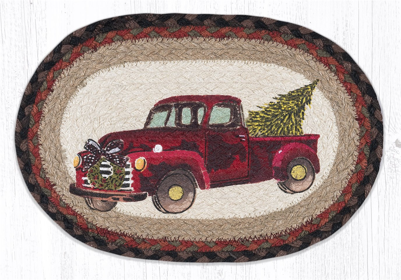 """Christmas Truck Printed Oval Braided Swatch 10""""x15"""""""