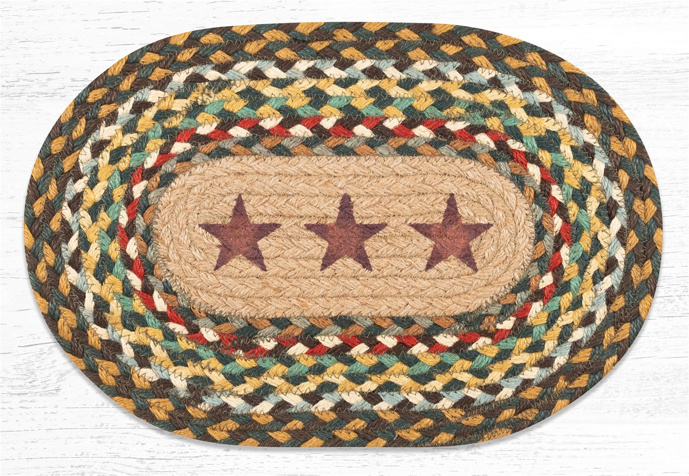 """Gold Stars Printed Oval Braided Swatch 10""""x15"""""""