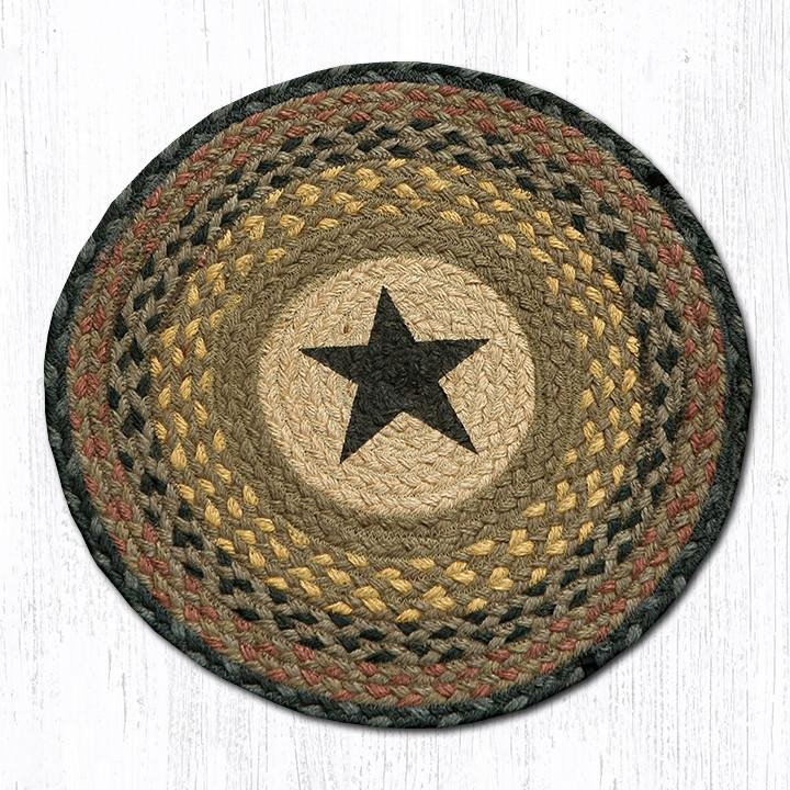 "Black Star Round Braided Chair Pad 15.5""x15.5"""